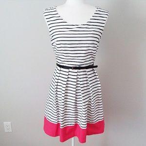 BCX Black, Red & White Stripe Dress w/Black Belt